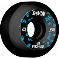 BONES WHEELS 100 #3 53mm V5 Sidecut Black OG Formula 4pk Skateboard Wheels