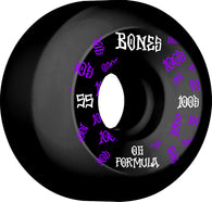 BONES WHEELS 100 #3 55mm V5 Sidecut Black OG Formula 4pk Skateboard Wheels