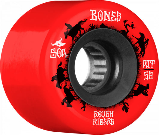 BONES ATF Rough Rider Wranglers 59mm 80a Red Skateboard Wheels