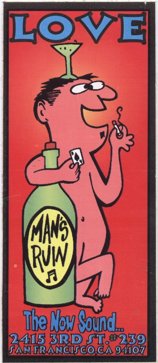 Man's Ruin Records Love Sticker Artwork by Frank Kozik