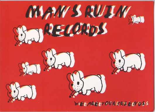 Man's Ruin Records Multi Smoking Rabbit Postcard Artwork By Frank Kozik