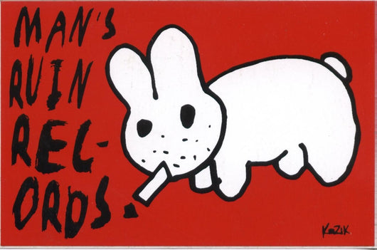 Man's Ruin Smoking Rabbit Postcard Artwork By Frank Kozik