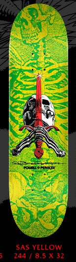 Powell Peralta Skull and Sword Yellow Green Skateboard Deck