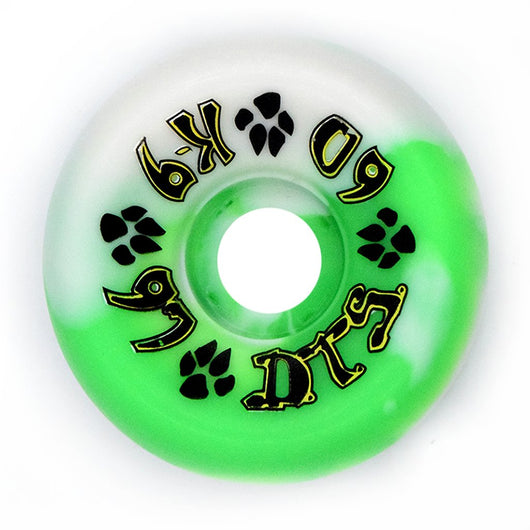 Dogtown K-9 Neon Green / White Swirl 60mm 97a 80's Skateboard Wheels