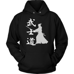 Martial Art Hoodie, black, with samurai design, unisex - hoodie - Art of KIME