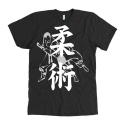 Martial Art T-Shirt, American Apparel, short sleeve, black, with BJJ design, unisex - T-shirt - Art of KIME