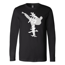 Martial Art T-Shirt, long sleeve, black, with karate design, unisex - T-shirt - Art of KIME