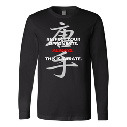 Martial Art T-Shirt, long sleeve, black, with karate quote, unisex - T-shirt - Art of KIME