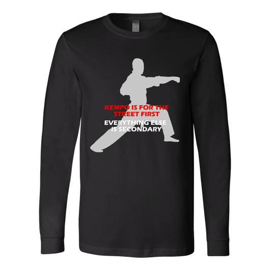 Martial Art T-Shirt, long sleeve, black, with Kempo quote, unisex - T-shirt - Art of KIME