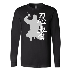 Martial Art T-Shirt, long sleeve, black, with Ninja design, unisex - T-shirt - Art of KIME
