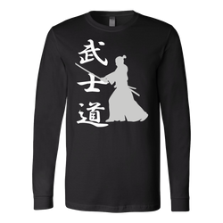 Martial Art T-Shirt, long sleeve, black, with samurai design, unisex - T-shirt - Art of KIME