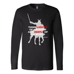 Martial Art T-Shirt, long sleeve, black, with samurai quote, unisex - T-shirt - Art of KIME