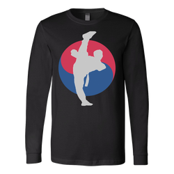 Martial Art T-Shirt, long sleeve, black, with Taekwondo design, unisex - T-shirt - Art of KIME