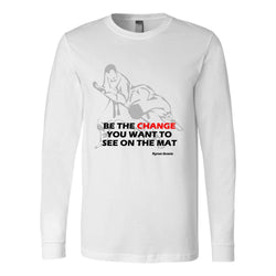 Martial Art T-Shirt, long sleeve, white, with BJJ quote, unisex - T-shirt - Art of KIME