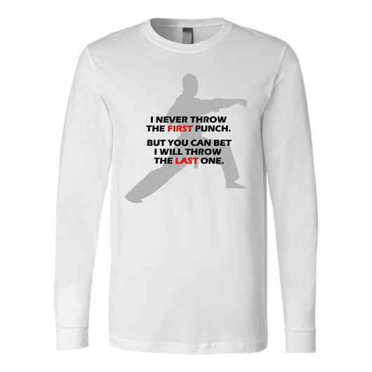 Martial Art T-Shirt, long sleeve, white, with fun quote, unisex - T-shirt - Art of KIME