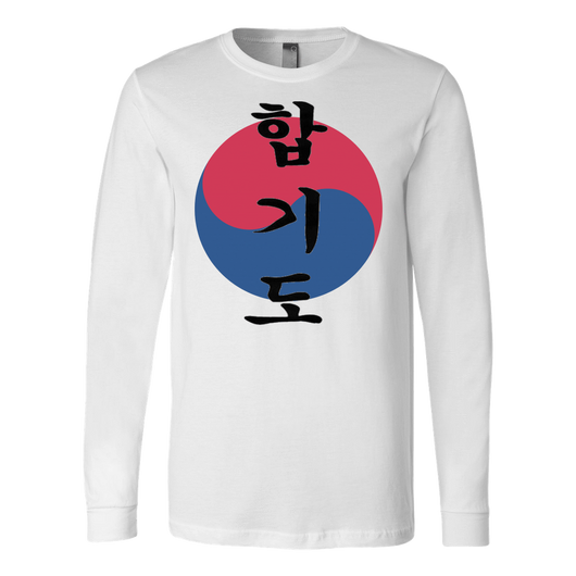 Martial Art T-Shirt, long sleeve, white, with Hapkido design, unisex - T-shirt - Art of KIME