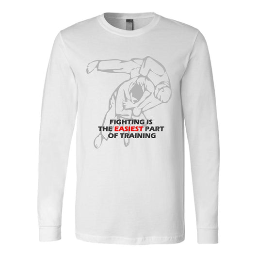 Martial Art T-Shirt, long sleeve, white, with Judo quote, unisex - T-shirt - Art of KIME