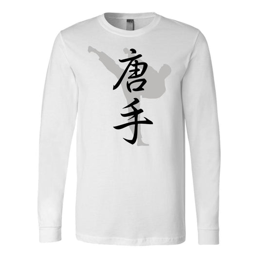 Martial Art T-Shirt, long sleeve, white, with karate design, unisex - T-shirt - Art of KIME