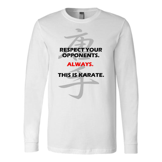 Martial Art T-Shirt, long sleeve, white, with karate quote, unisex - T-shirt - Art of KIME