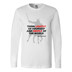 Martial Art T-Shirt, long sleeve, white, with samurai quote - T-shirt - Art of KIME