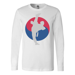 Martial Art T-Shirt, long sleeve, white, with Taekwondo design, unisex - T-shirt - Art of KIME