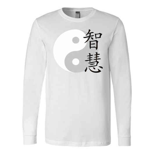 Martial Art T-Shirt, long sleeve, white, with Ying Yang design, unisex - T-shirt - Art of KIME