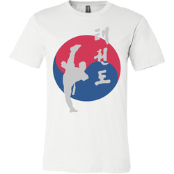 Martial Art T-Shirt, short sleeve, white, with Taekwondo design, unisex - T-shirt - Art of KIME