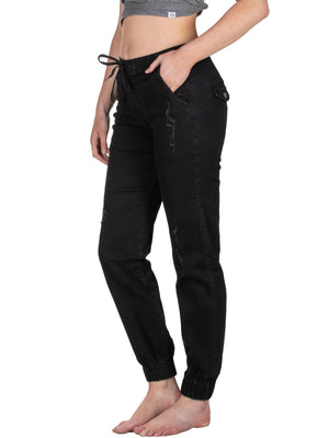 Ladies Black Distressed Denim Joggers