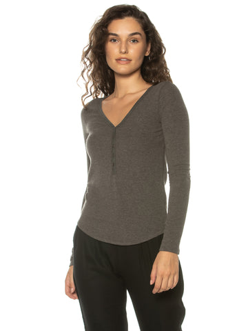 Charcoal Henley V-Neck L/S