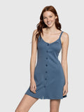 Steel Blue Button Up Tank Dress