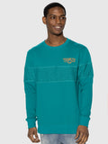 Teal Terry Stripe Crewneck
