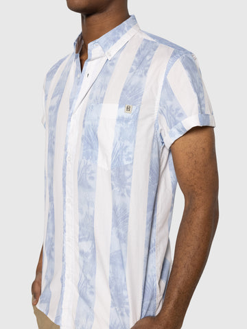 Palm Stripe S/S Button Up