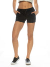 Black Distressed Denim Ladies Short