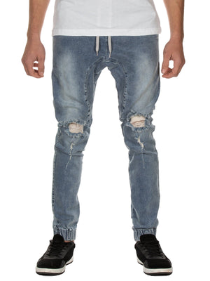 Mens Distressed Denim Joggers