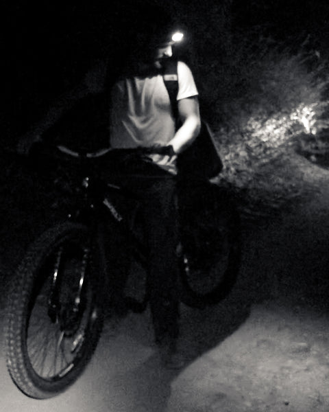 Night riding mountain bikes in los padres national forest