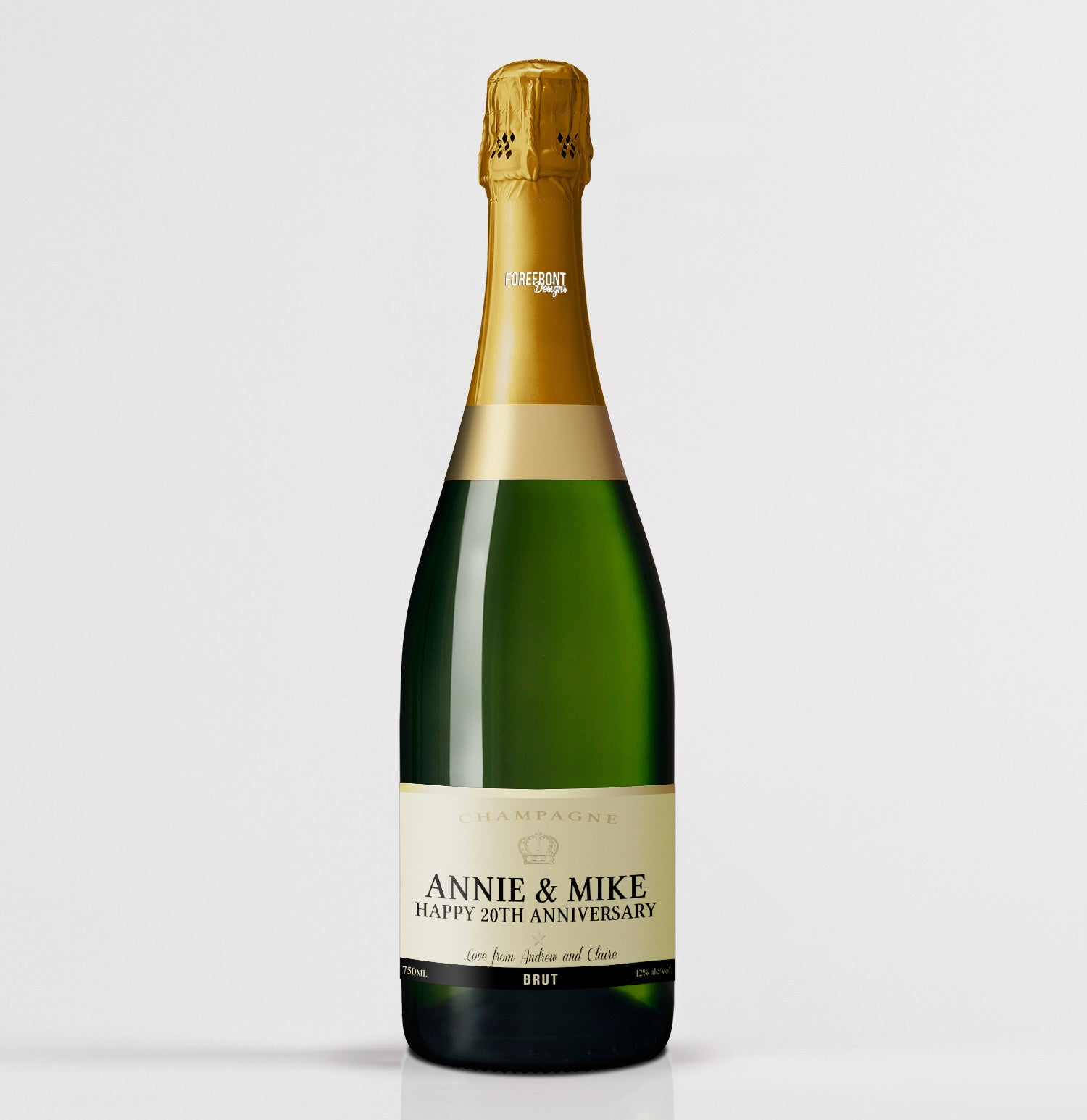 personalised champagne anniversary bottle label forefrontdesigns