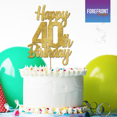 Enjoyable Personalised 40Th Birthday Glitter Cake Topper Any Wording Age Funny Birthday Cards Online Alyptdamsfinfo