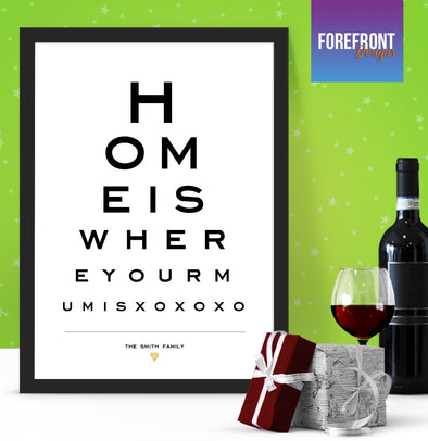 Personalised Eye Chart Print Ideal New Familynew Home Gift