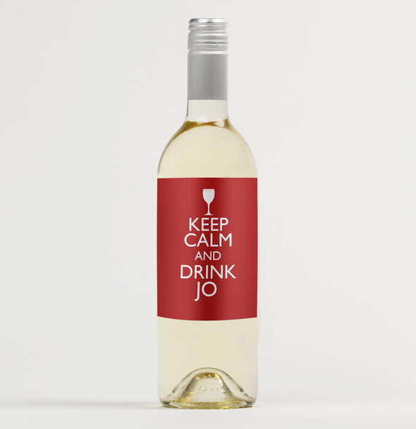 Personalised Keep Calm And Drink Wine Bottle Label Labels: Keep Calm Personalised Wine Bottle Label