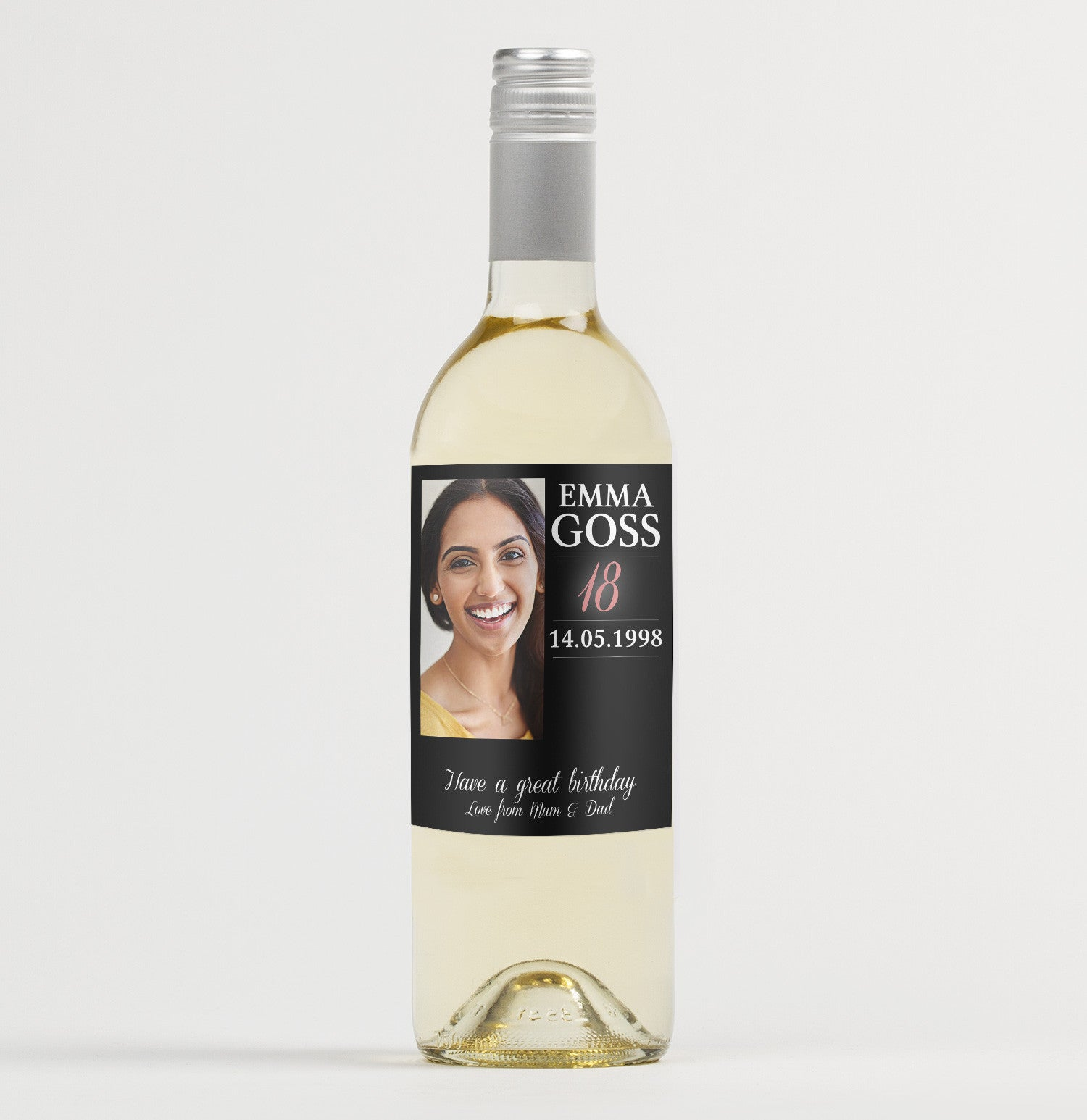 Personalised PHOTO Wine Bottle Label Perfect 18th//21st//30th//40th// Birthday gift