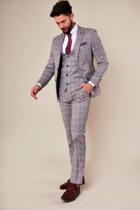 Marc Darcy: ALVIN - Grey Pink Check Three Piece Suit - Gilt Edged