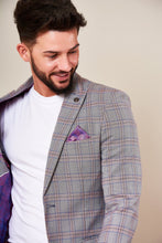 Marc Darcy: ALVIN - Grey Pink Check Two Piece Suit - Gilt Edged