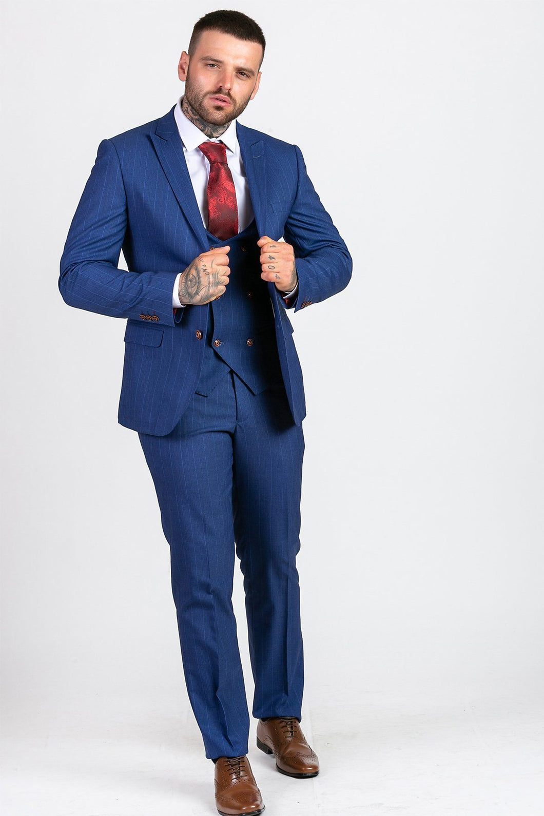 Marc Darcy: CONRAD - Royal Blue Pinstripe Three Piece Suit - Gilt Edged
