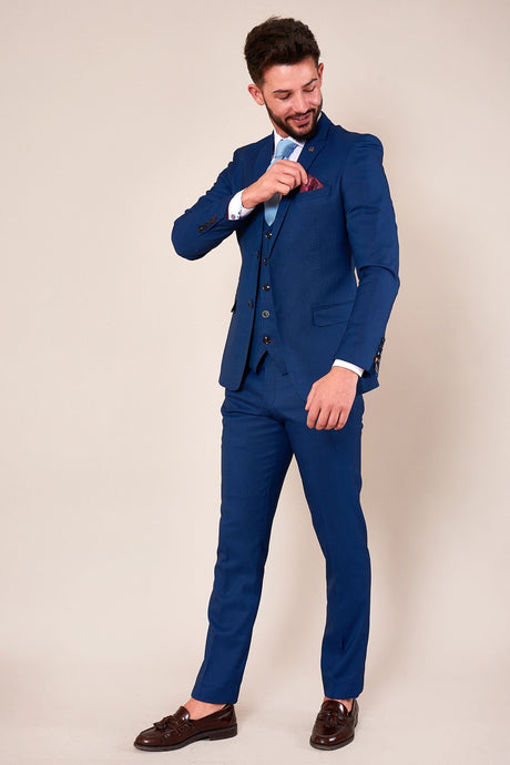 Marc Darcy: DANNY - Royal Blue Three Piece Suit With Single Breasted Waistcoat - Gilt Edged