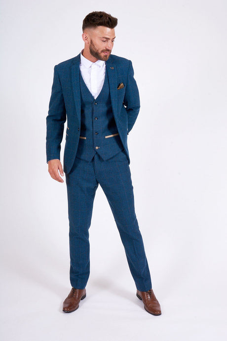 Marc Darcy: DION - Blue Tweed Check Three Piece Suit - Gilt Edged