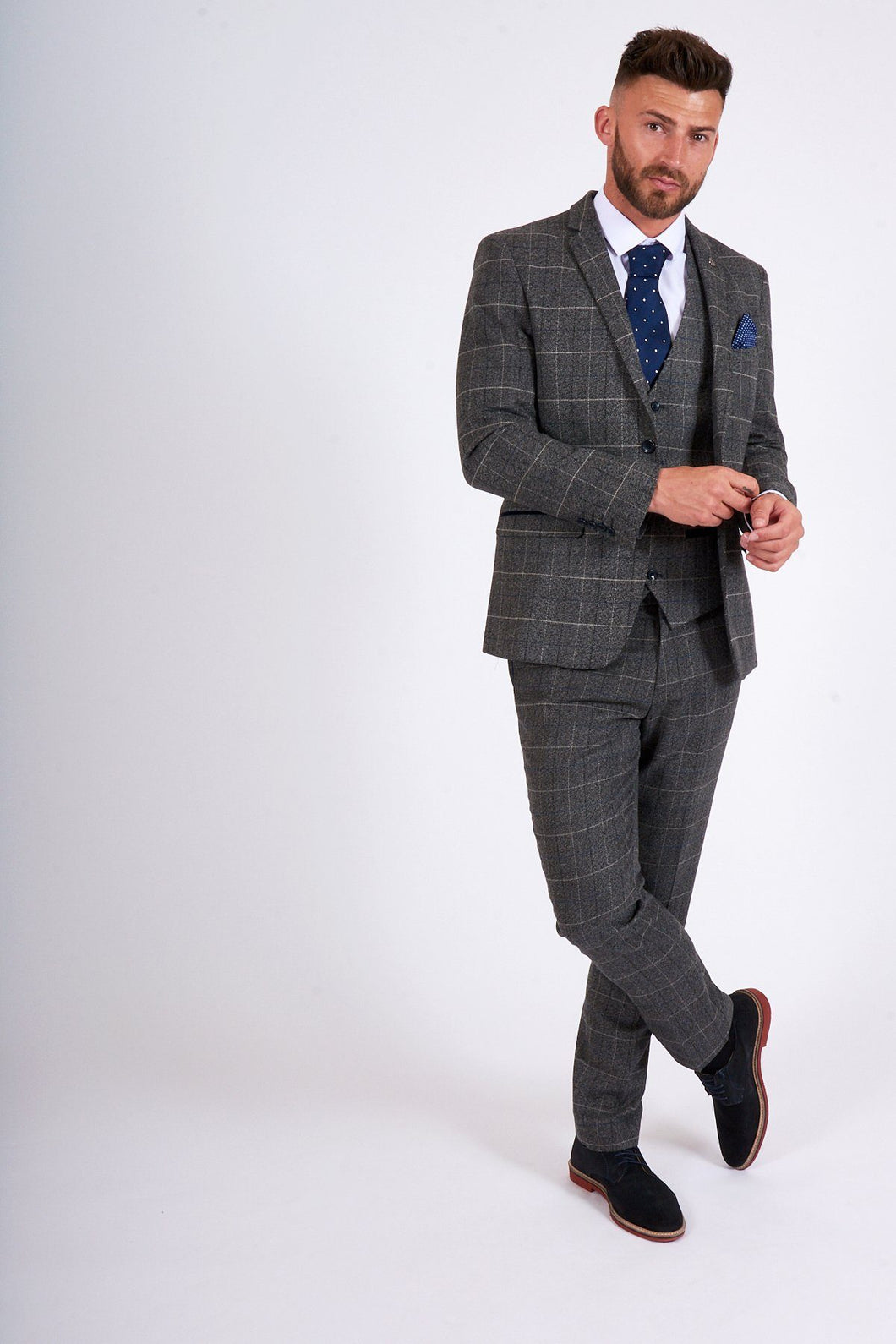 Marc Darcy: SCOTT - Grey Tweed Check Three Piece Suit - Gilt Edged