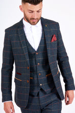 Marc Darcy: ETON - Navy Blue Tweed Check Three Piece Suit - Gilt Edged