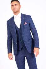 Marc Darcy: HARRY - Indigo Tweed Suit With Single Breasted Waistcoat - Gilt Edged
