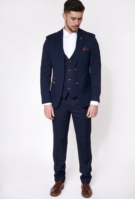 Marc Darcy: JD4 - Navy Contrast Trim Three Piece Suit - Gilt Edged