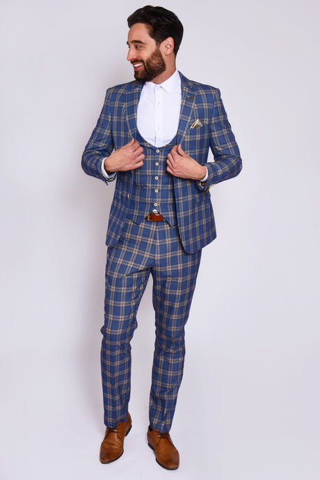 Marc Darcy: TONY - Blue Yellow Check Suit With Single Breasted Waistcoat - Gilt Edged
